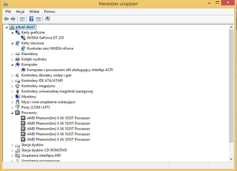 W menedżerze urządzeń można znaleźć podstawowe informacje o podzespołach