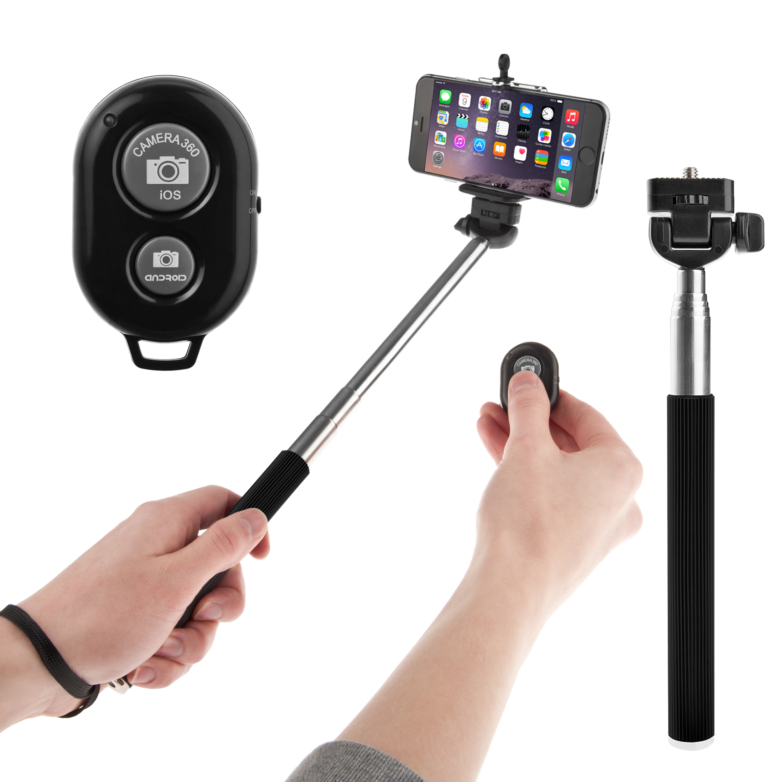 0046952 yousave selfie stick for mobile phones with bluetooth remote techfr. Black Bedroom Furniture Sets. Home Design Ideas