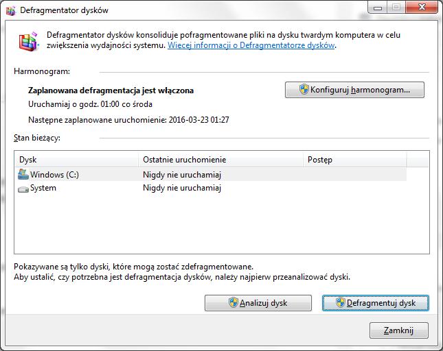 windows 7 defragmentacja