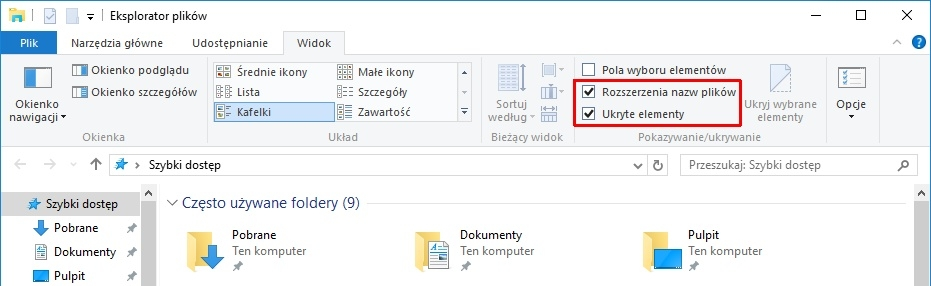 windows 10 foldery ukryte