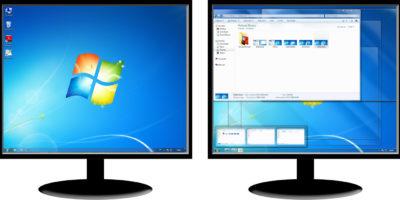 dwa monitory jeden komputer