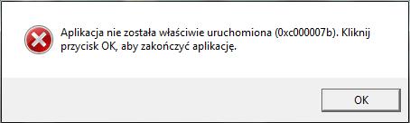 błąd 0xc000007b