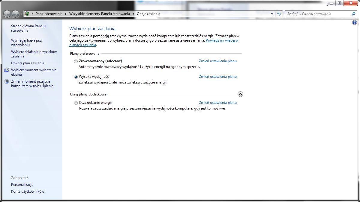 windows 7 opcje zasilania